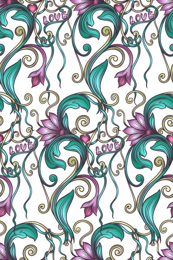 Estampado de flores decorativo inconsútil stock de ilustración