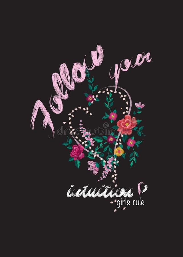 Estampado de flores del bordado con las rosas, el corazón y el lema ilustración del vector