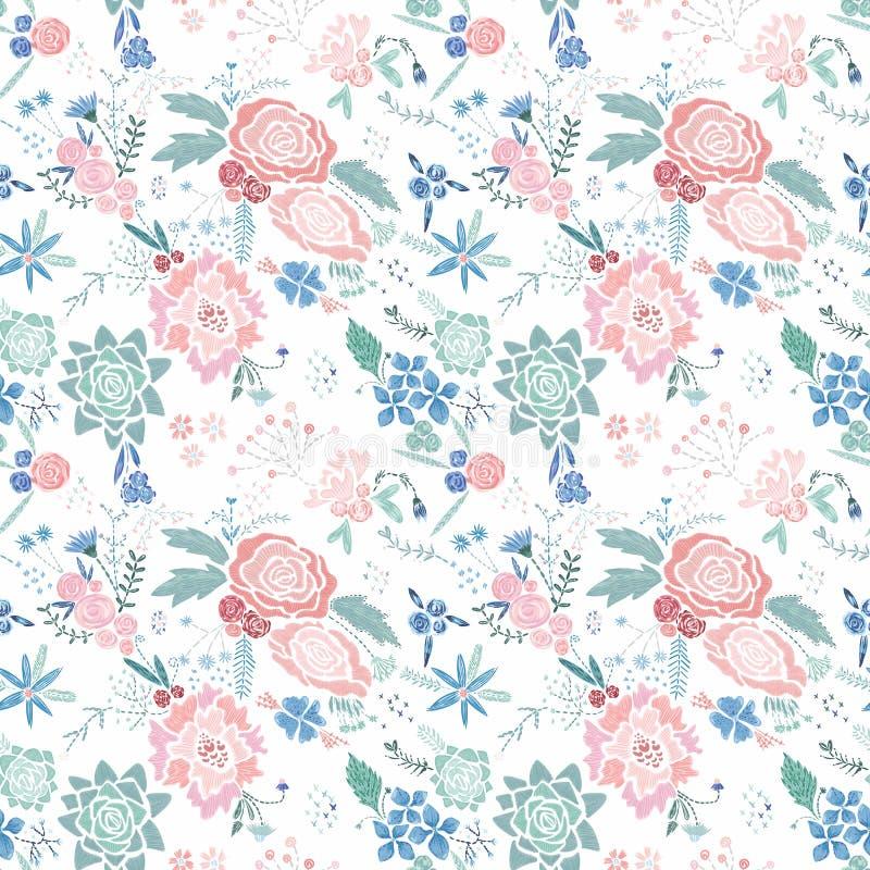 Estampado de flores del bordado del vector ilustración del vector