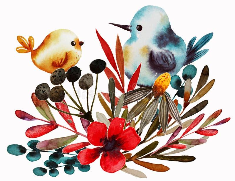 Estampado de flores del campo con el p?jaro libre illustration