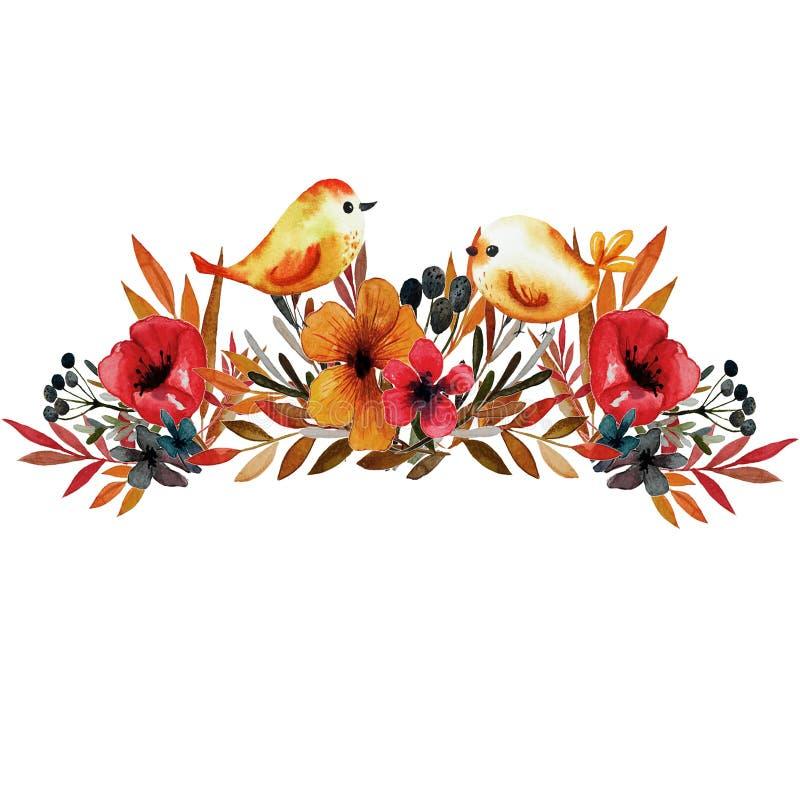 Estampado de flores del campo con los pájaros libre illustration