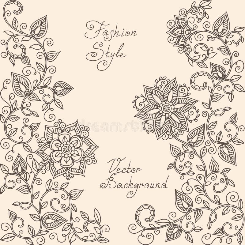 Estampado de flores del mehndi de la alheña del vector stock de ilustración