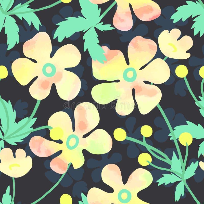 Estampado de flores del vector con las flores suaves de la acuarela imagenes de archivo
