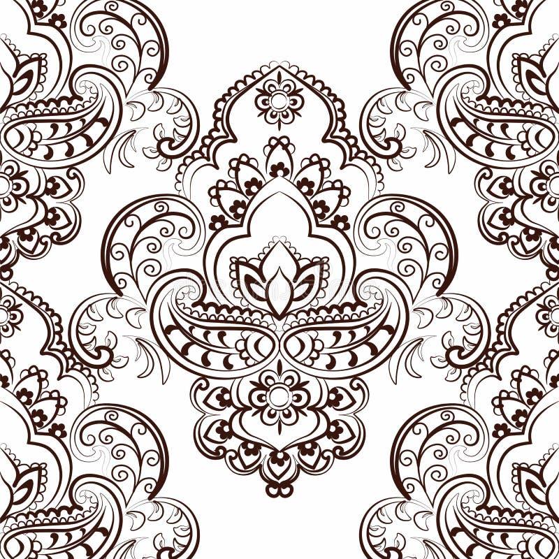 Estampado de flores del vector en estilo indio stock de ilustración