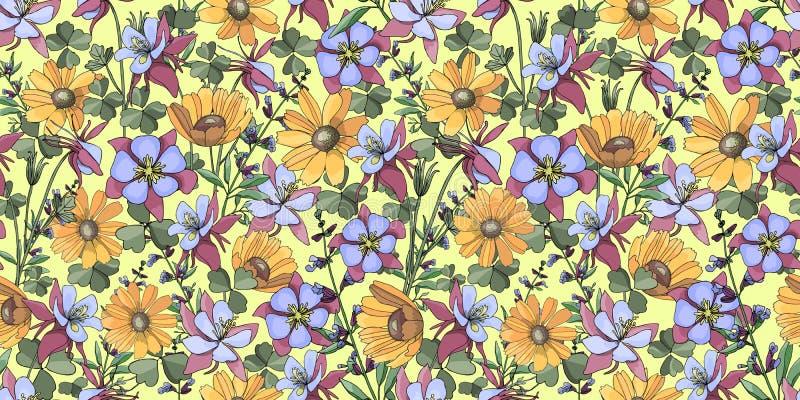 Estampado de flores del verano stock de ilustración