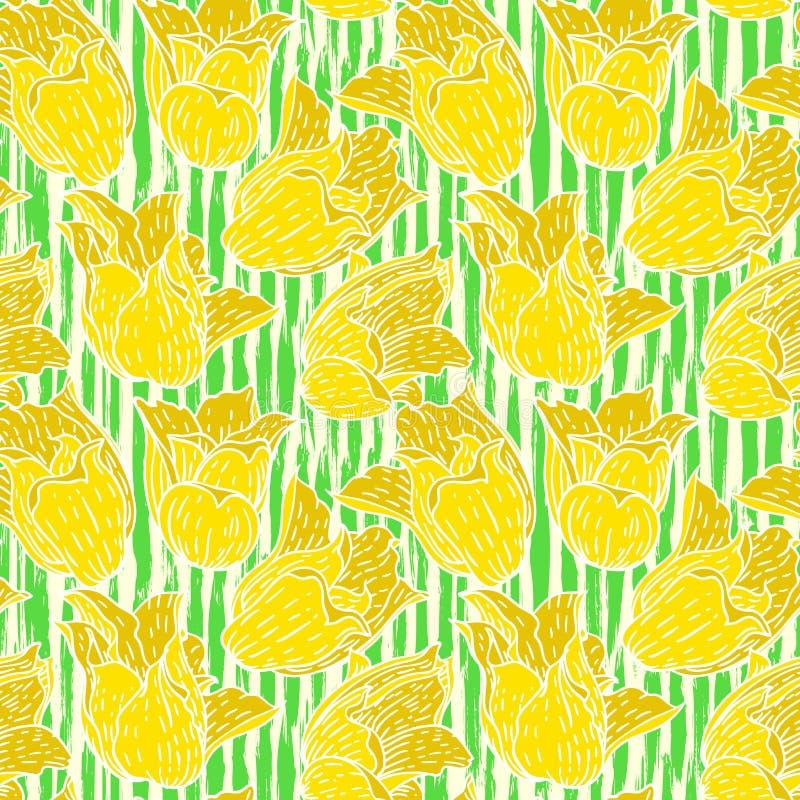 Estampado de flores del vintage con los tulipanes amarillos libre illustration