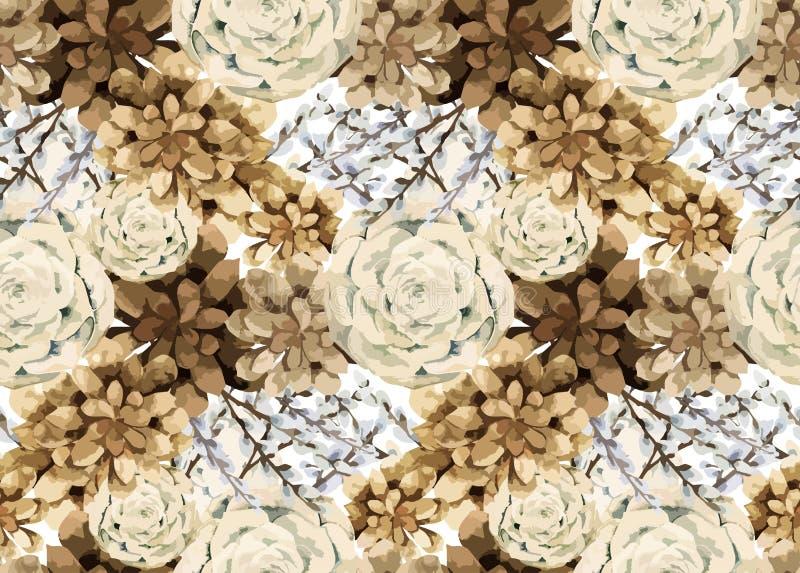 Estampado de flores del vintage de la acuarela ilustración del vector