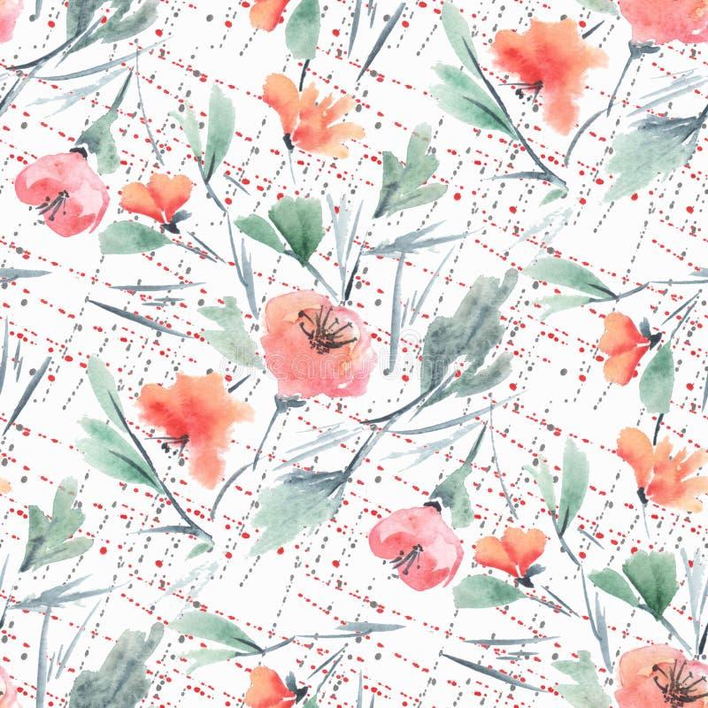 Estampado de flores delicado de la acuarela inconsútil en fondo ligero ilustración del vector