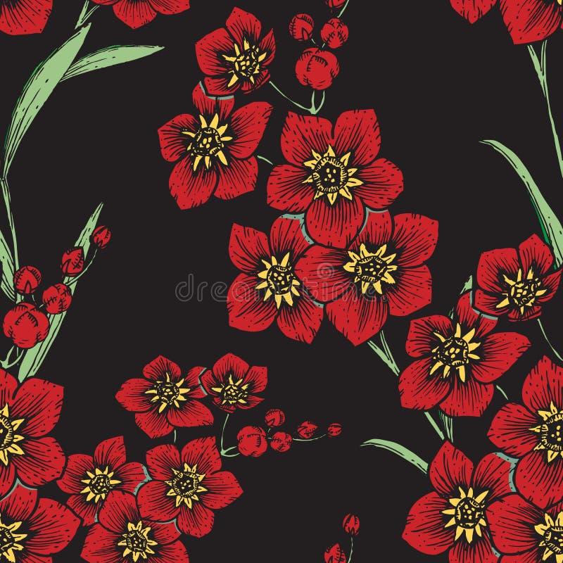 Estampado de flores dibujado mano ilustración del vector