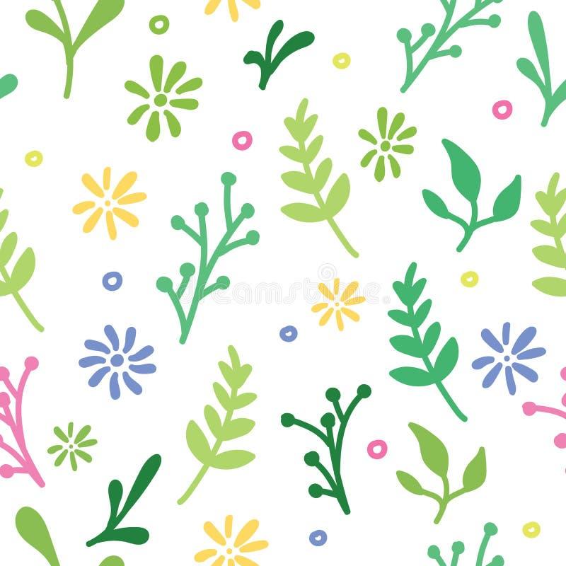 Estampado de flores dibujado mano blanca foto de archivo libre de regalías