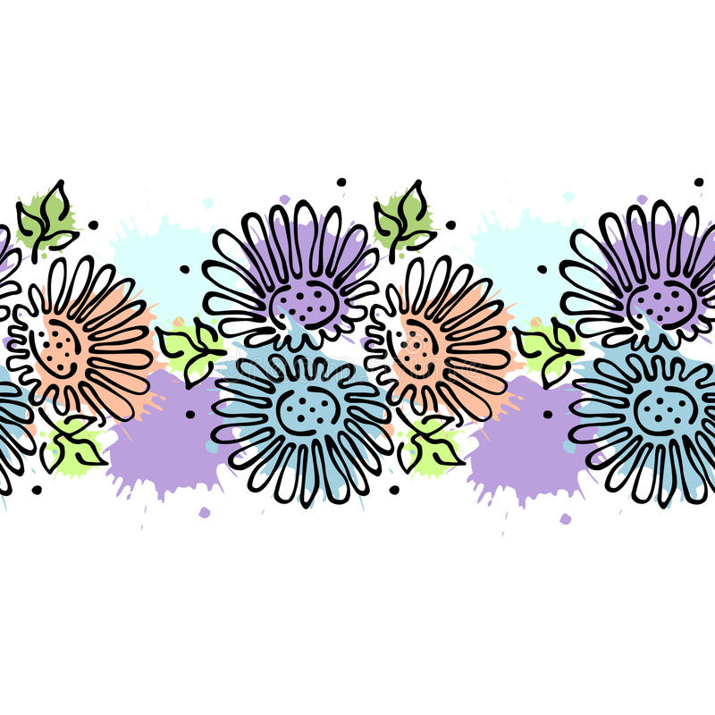 Estampado de flores dibujado mano inconsútil del vector, marco colorido de la frontera sin fin con las flores, hojas Línea gráfic libre illustration
