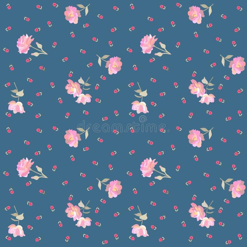 Estampado de flores ditsy sin fin con las rosas rosadas apacibles y los tulipanes minúsculos rojos aislados en fondo azul en vect stock de ilustración