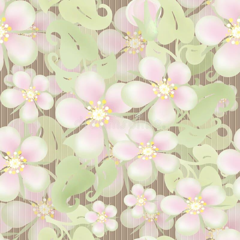 Estampado de flores en colores pastel inconsútil en beige rayado stock de ilustración