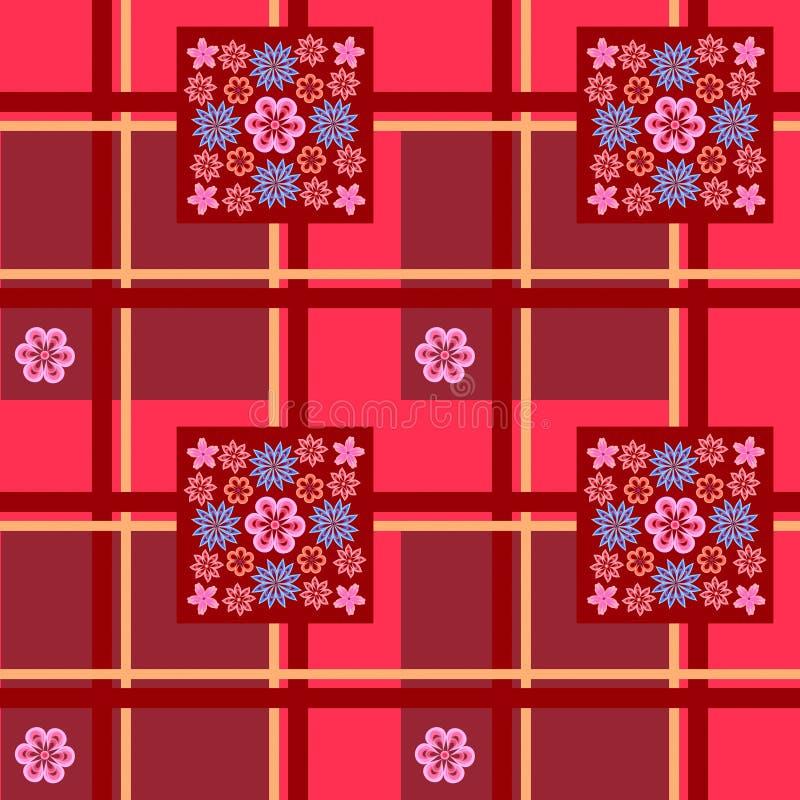 Estampado de flores en un fondo a cuadros rojo libre illustration
