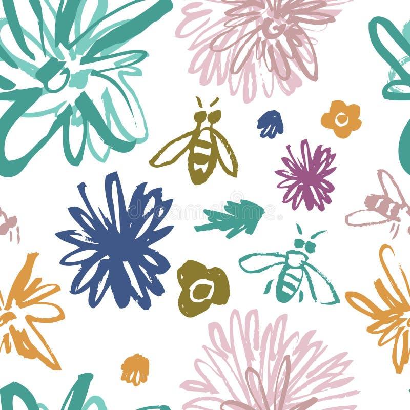 Estampado de flores enrrollado con las abejas stock de ilustración
