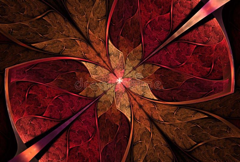 Estampado de flores, flor o mariposa hermosa en estilo del vitral ilustración del vector