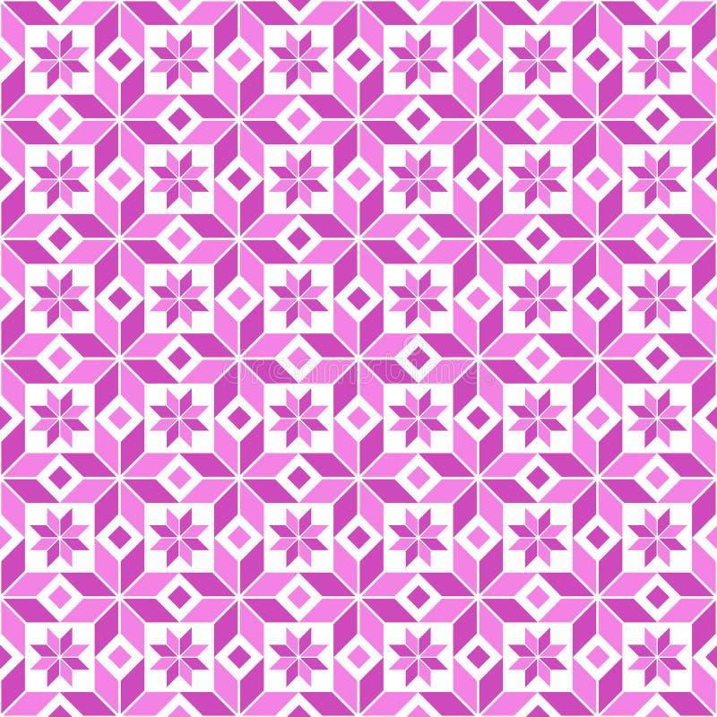 Estampado de flores geométrico rosado inconsútil bicolor stock de ilustración