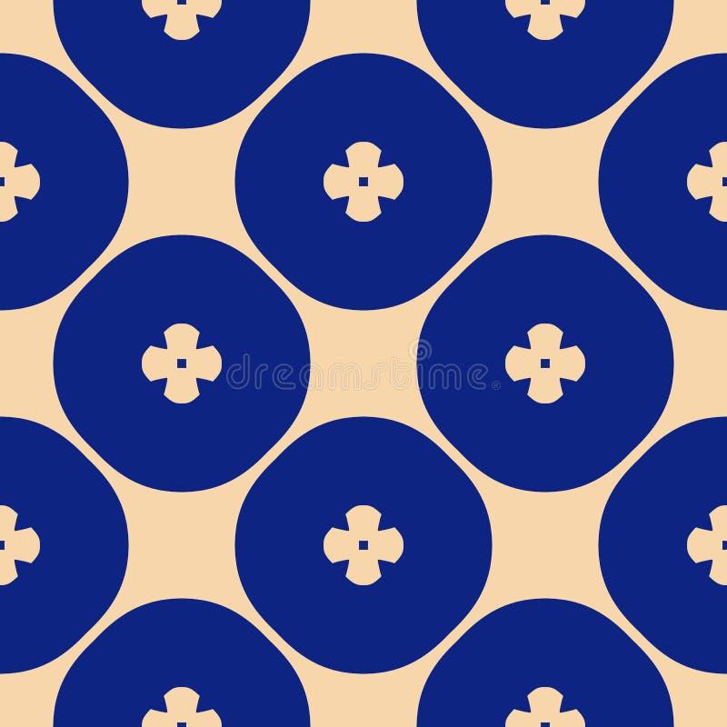 Estampado de flores geom?trico del vector Ornamento incons?til azul y amarillo elegante libre illustration