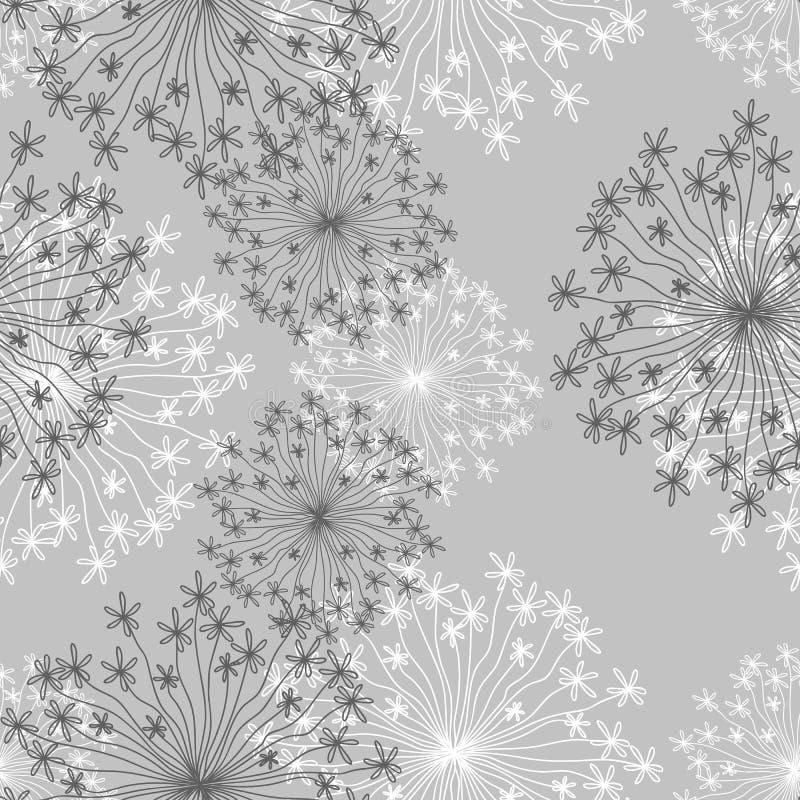 Estampado de flores hermoso con los dientes de león ilustración del vector