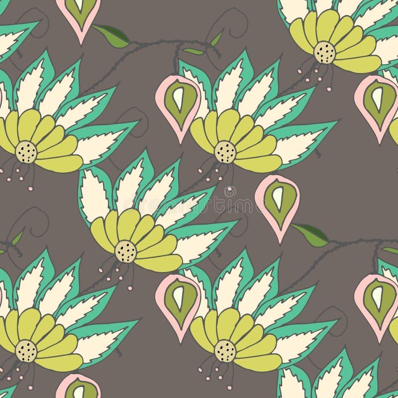 Estampado de flores hermoso de los seamles stock de ilustración