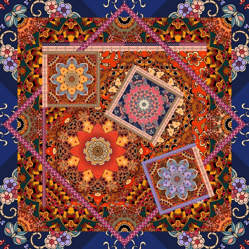 Estampado de flores hermoso en estilo del remiendo Motivos indios, árabes, aztecas, marroquíes, mexicanos ilustración del vector