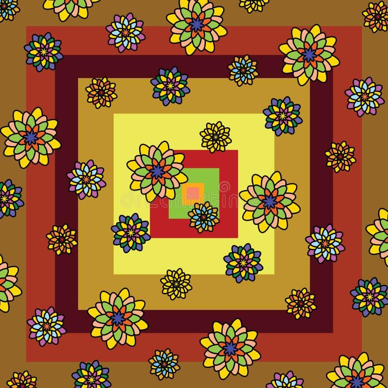 Estampado de flores hermoso: flores geométricas multicoloras en un fondo de los cuadrados multicolores amarillos, marrón, rojo imagenes de archivo
