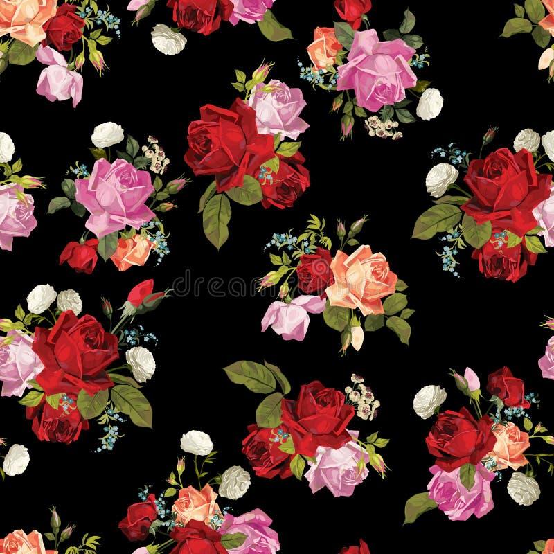 Estampado de flores inconsútil abstracto con blanco, rosado, rojo y orang stock de ilustración