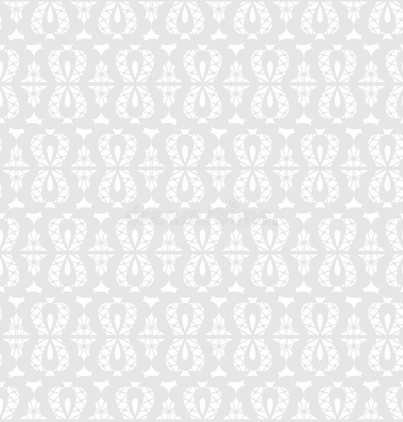 Estampado de flores inconsútil blanco del cordón en fondo gris ilustración del vector