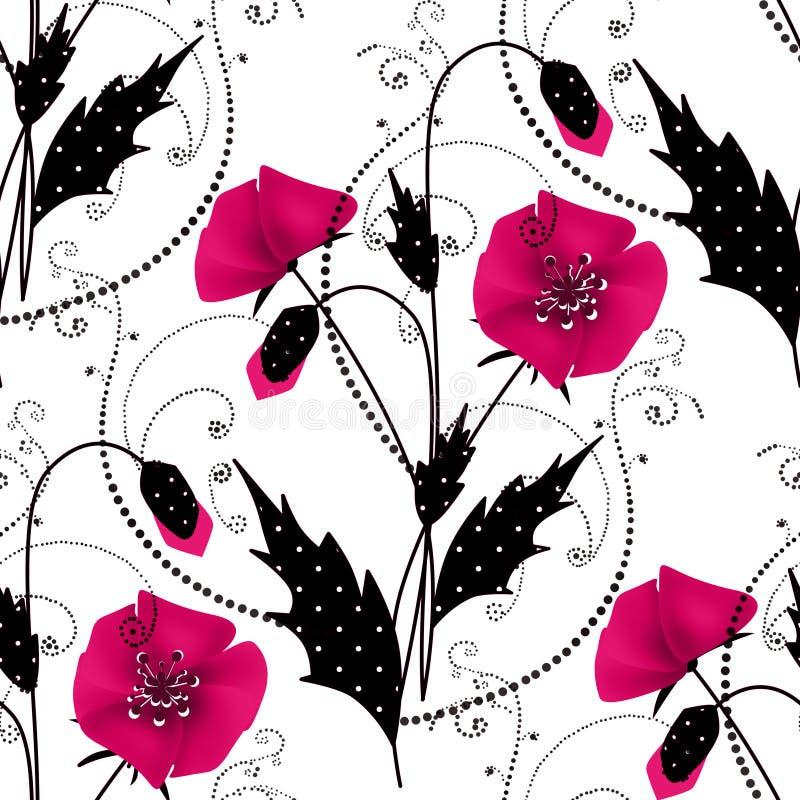 Estampado de flores inconsútil con el fondo rosado de las amapolas stock de ilustración