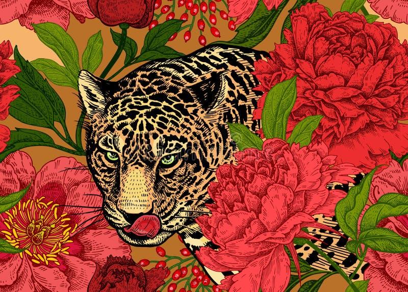 Estampado de flores inconsútil con el leopardo y las peonías stock de ilustración