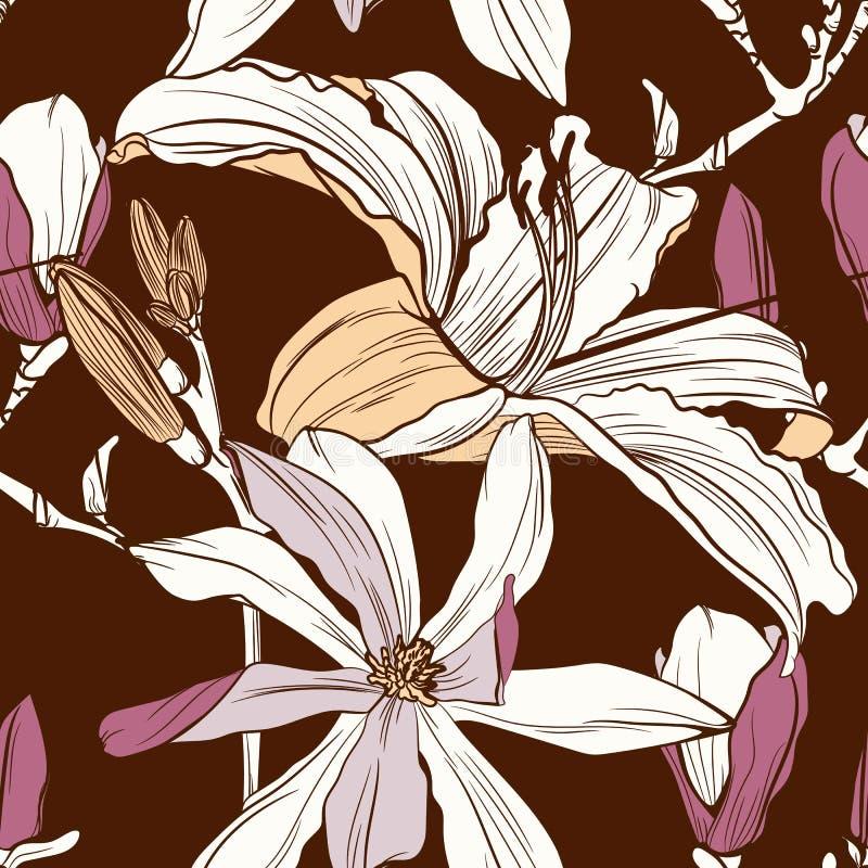 Estampado de flores inconsútil con imagen de una magnolia y de las flores de los lirios en un fondo del marrón del vintage ilustración del vector