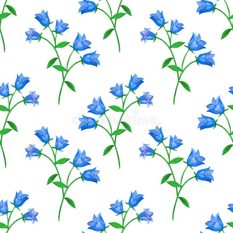 Estampado de flores inconsútil con las flores de campana azules en el fondo blanco Cierre para arriba stock de ilustración
