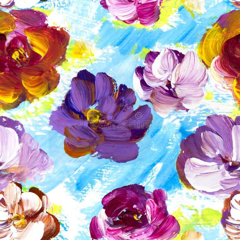 Estampado de flores inconsútil con las flores coloridas abstractas libre illustration