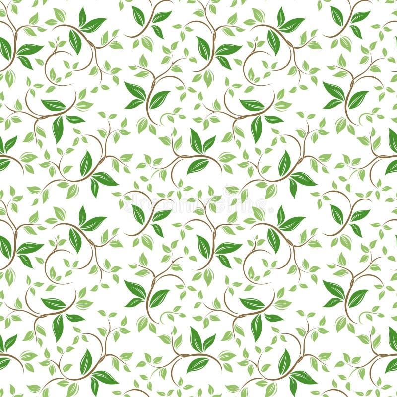 Estampado de flores inconsútil con las hojas verdes Ilustración del vector libre illustration