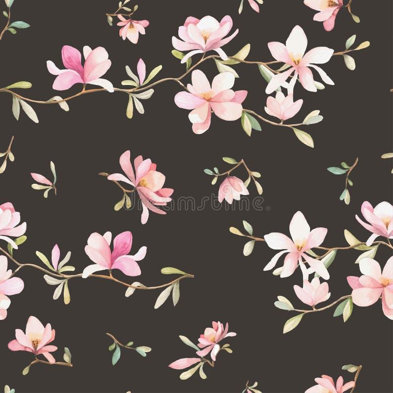 Estampado de flores inconsútil con las magnolias en un fondo oscuro, acuarela ilustración del vector