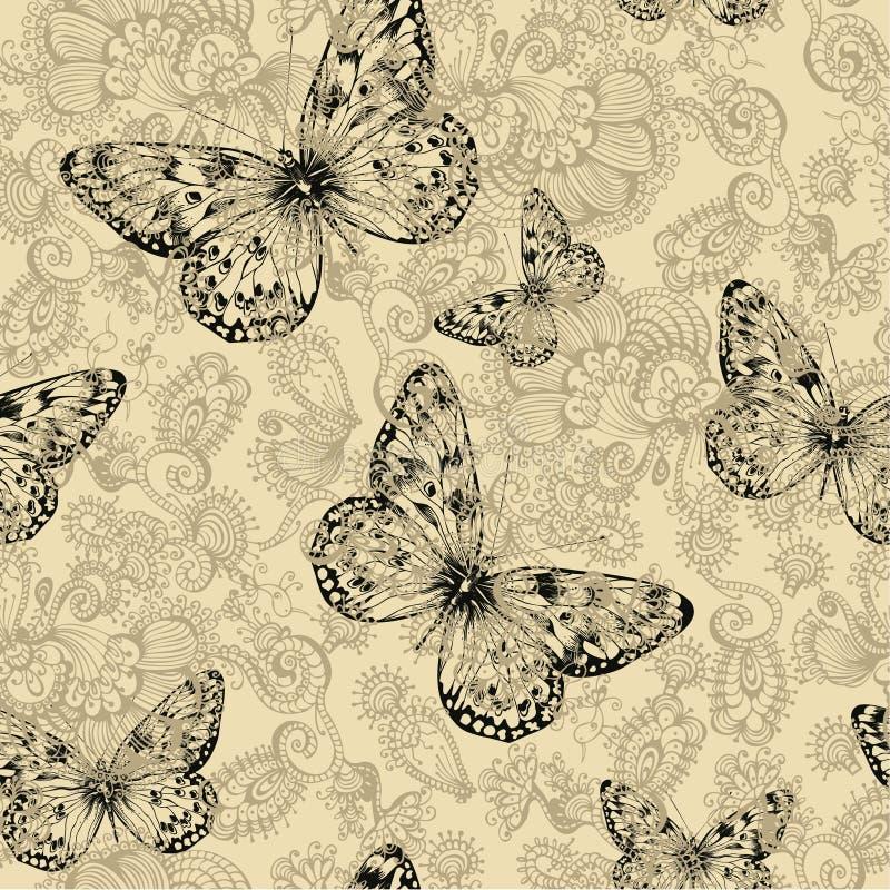 Estampado de flores inconsútil con las mariposas, mano-dibujo Vector i ilustración del vector