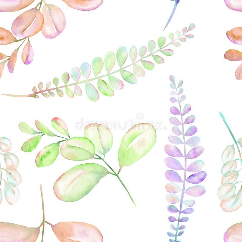 Estampado de flores inconsútil con las ramas púrpuras, rosadas y verdes abstractas de la acuarela ilustración del vector
