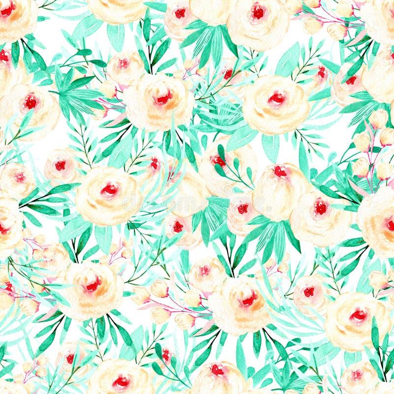 Estampado de flores inconsútil con las rosas del rosa de la acuarela y las hierbas de la menta libre illustration