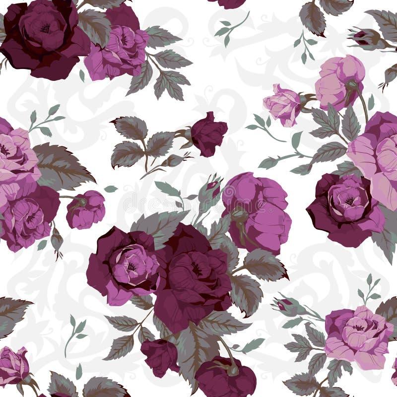 Estampado de flores inconsútil con las rosas púrpuras en el fondo blanco, w stock de ilustración