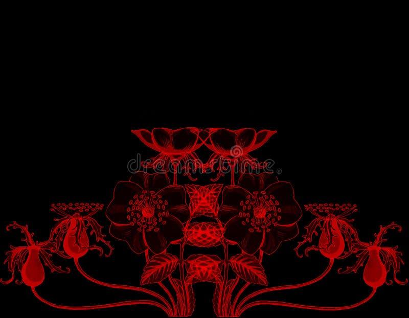 Estampado de flores inconsútil con las rosas rojas en un fondo negro Fondo con un lugar para la inscripción ilustración del vector