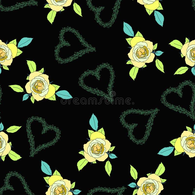 Estampado de flores inconsútil con las flores y los corazones color de rosa Textura decorativa stock de ilustración
