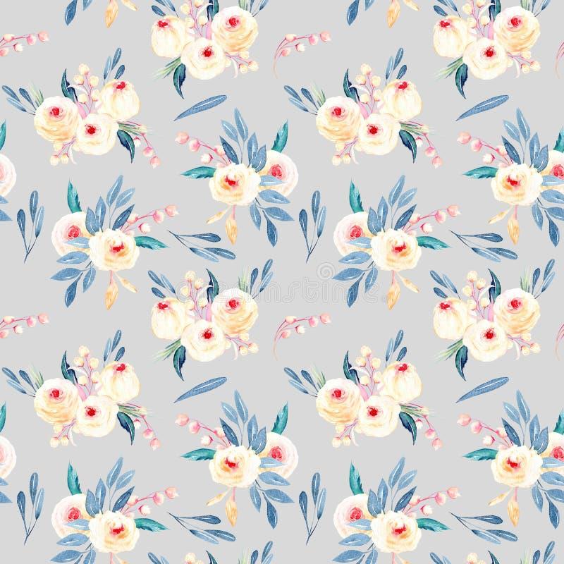 Estampado de flores inconsútil con los ramos de la flor de la acuarela en sombras rosadas y azules libre illustration