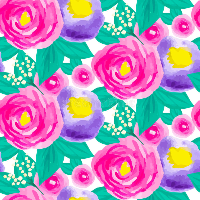 Estampado de flores inconsútil de la acuarela libre illustration