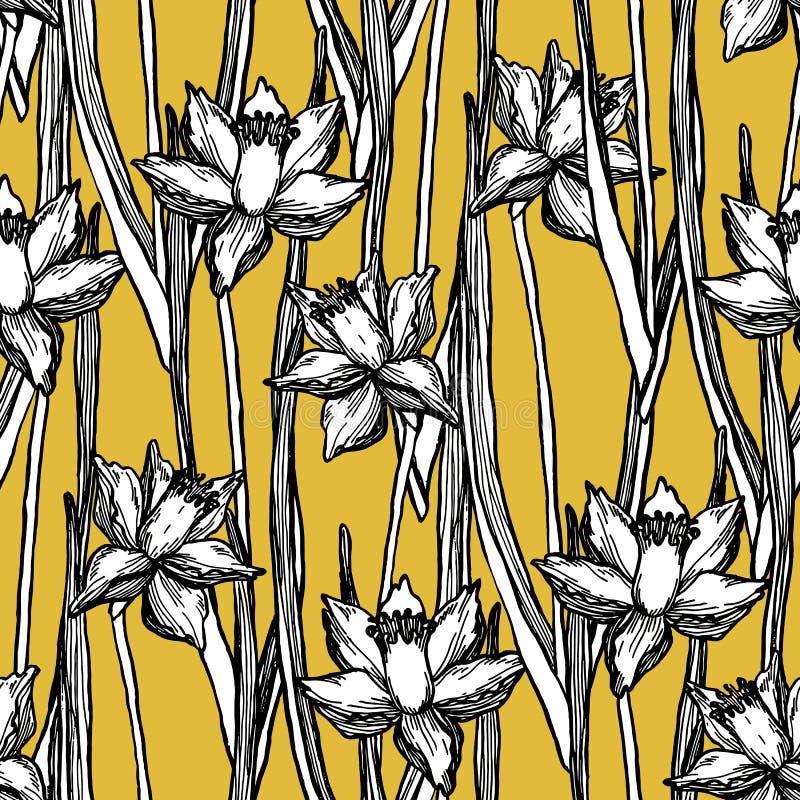Estampado de flores inconsútil de la primavera de los narcisos del narciso libre illustration