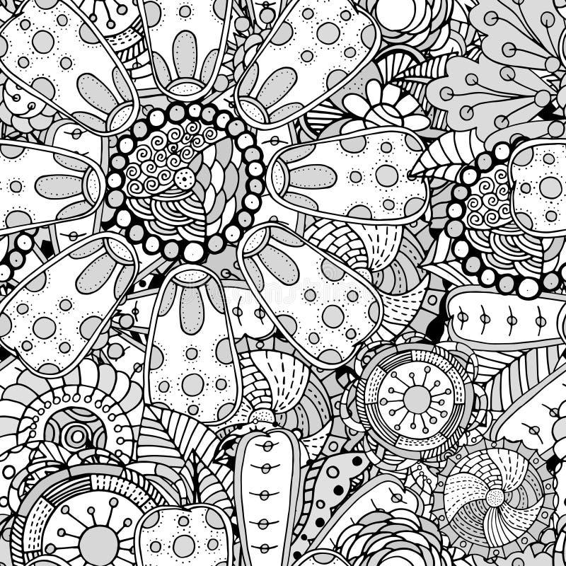 Estampado de flores inconsútil del contorno stock de ilustración