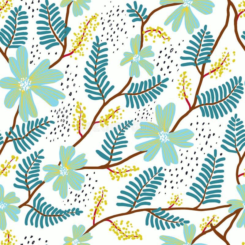 Estampado de flores inconsútil del garabato Impresión del verano para las materias textiles Vinta libre illustration