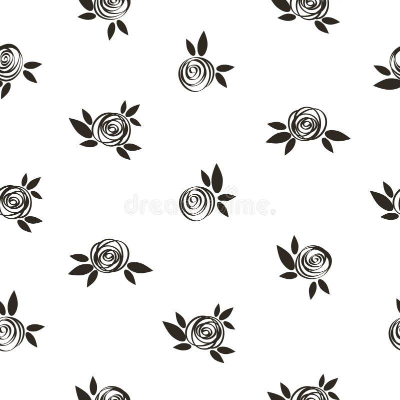 Estampado de flores inconsútil del lunar con las rosas scrible stock de ilustración