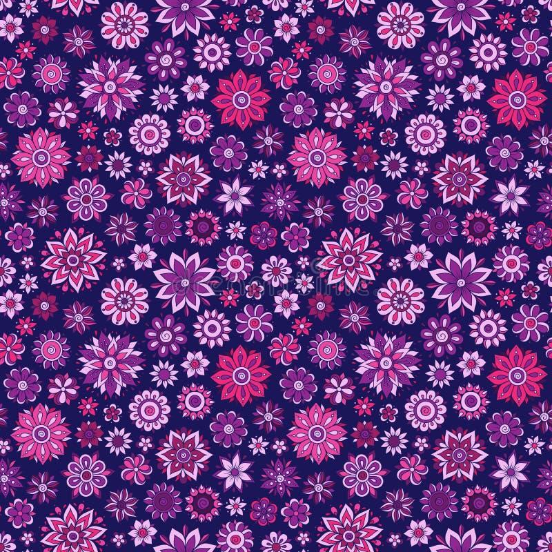 Estampado de flores inconsútil del vector con las flores y las hojas stock de ilustración