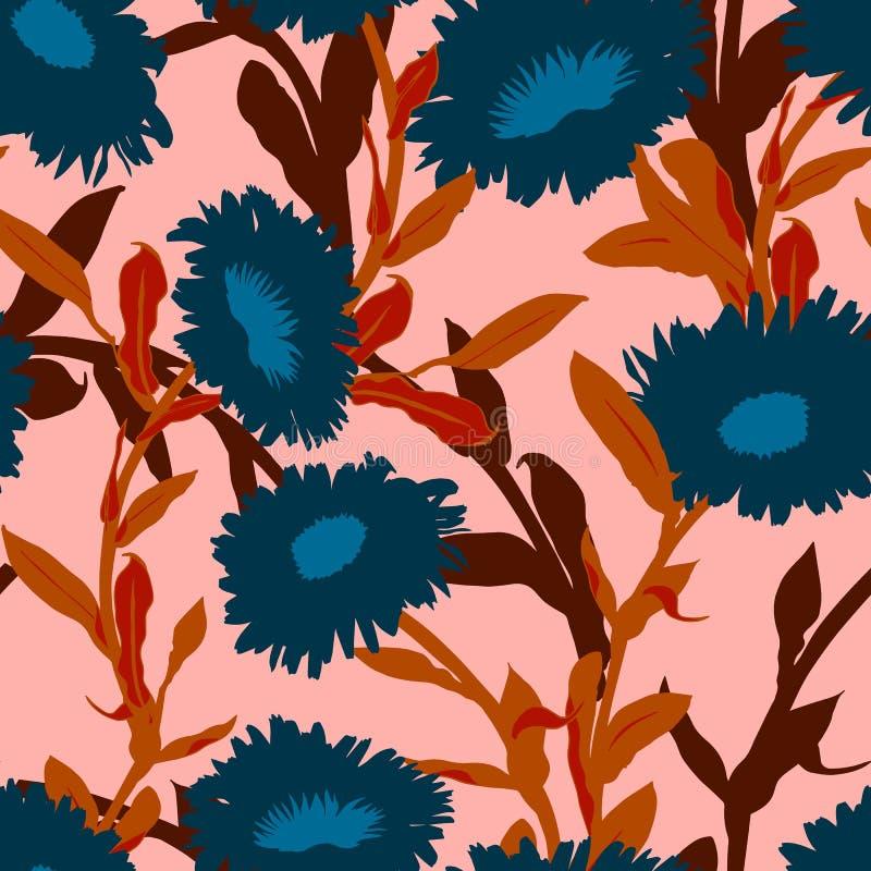 Estampado de flores inconsútil del vector con las flores intrépidas grandes ilustración del vector