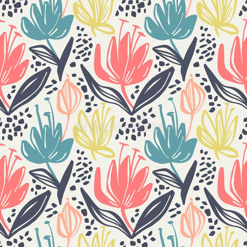 Estampado de flores inconsútil del vector con las flores minimalistic del color mudo en el fondo ligero, diseño botánico de la im libre illustration